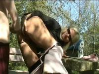German blonde gets anal outdoors