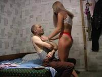 Blonde with a tan lined butt fucking an older man