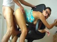 Slim slut with glasses gets banged while standing