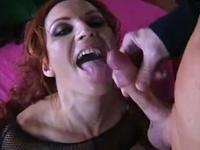 Milf masturbates and gets treated with a cock