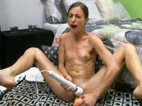 Anorexic girl plays with a vibrator