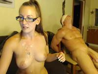Blonde with glasses is sucking cock