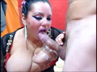Fat woman is sucking a cock