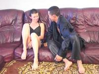 Short haired brunette eaten out and fucked