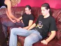 Cumslut joined by two guys
