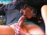 Pretty brunette milf wife suck husband cock when her parents leave house,damn