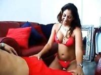 Attractive Mexican babe jerks off her man's huge shaft