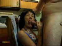 Brunette milf wife make a hell of a blowjob in the kitchen house,!holy fuck!