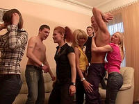 Partying coeds play with each other and fuck in groups