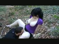 So pretty brunette milf girlfriend with big tits make a risky outdoor sex fun