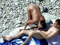 Beach deepthroat blowjob