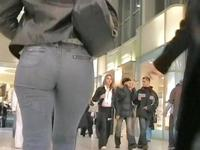No matter how quickly this sexy denim girl was walking I kept recording her hot booty