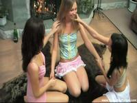 Three teen cuties share cock