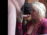 Pretty blonde chubby milf wife make a hell of a blowjob when parents leave