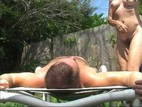 Pretty mature brunette wife make a hot sex fun outdoors in house backyard,enjoy