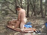 Crazy married couple make a risky sex fun in a public nature park place,damn!