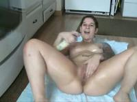 Hot oily striptease in kitchen