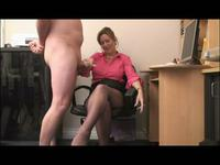 Office girl using her hands to please