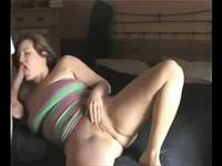 So pretty brunette milf wife make a hot sex fun when parents sleep in house
