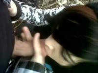 Emo teen blowjob her boyfriend outdoor