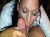 Brunette cock sucker gagging balls deep