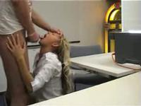 Wild blonde gets stuffed at the office