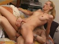 Amateur blonde fingered and fucked hard
